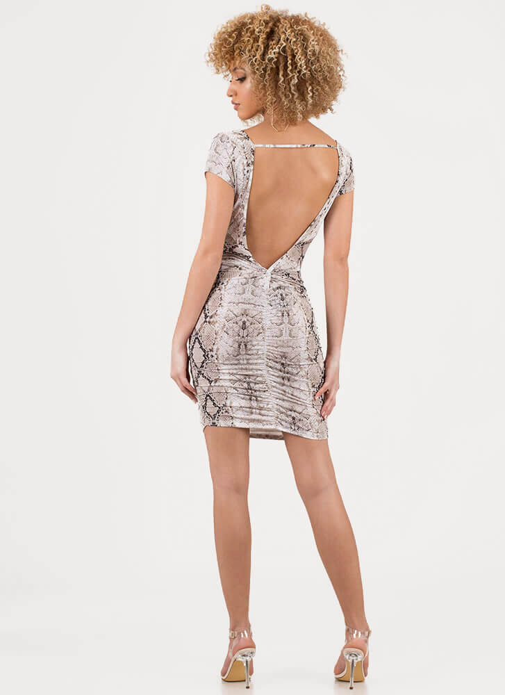 Miss Python Open-Back Snake Print Dress MULTI