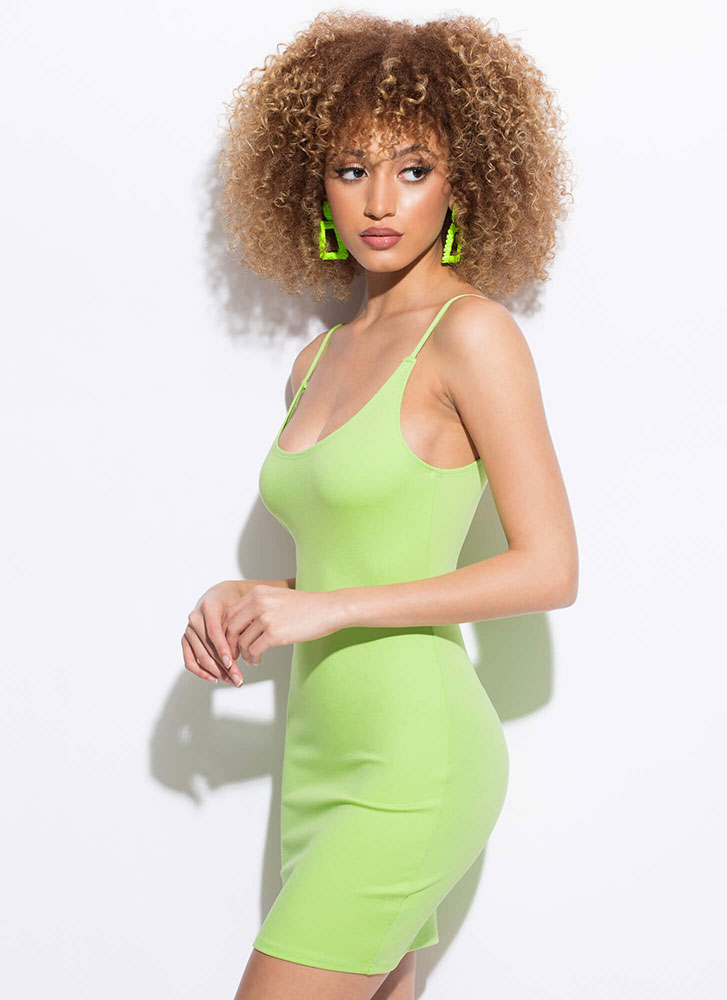 Curve Your Enthusiasm Solid Minidress LIME