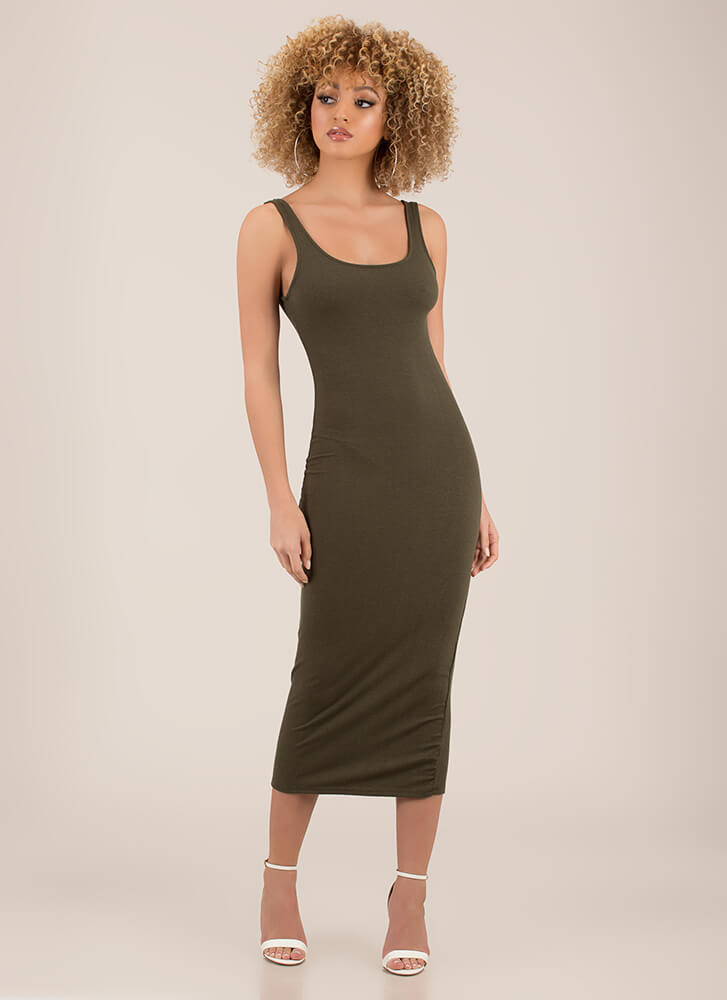 Tanks For Everything Rib Knit Maxi Dress OLIVE