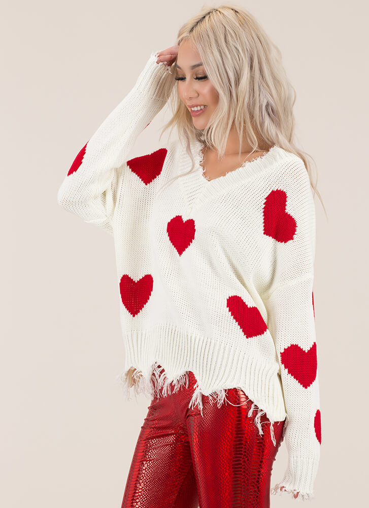 Hearts Content Distressed Knit Sweater WHITEMULTI (Final Sale)