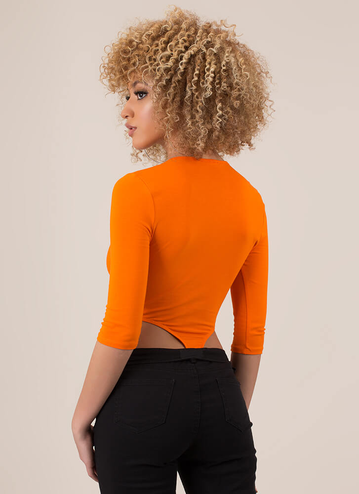 Girl On The Side Cut-Out Bodysuit ORANGE