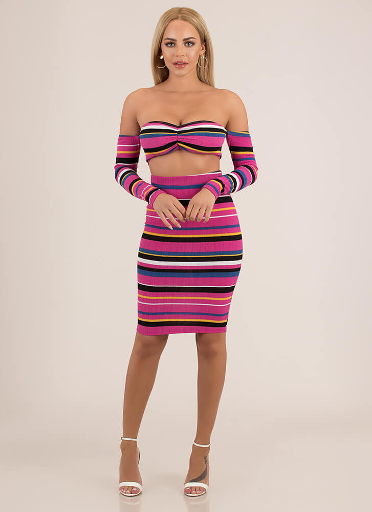 Living Color Striped Top And Skirt FUCHSIA