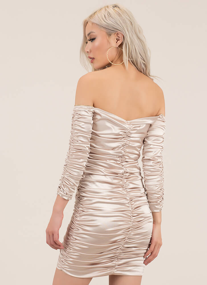 Big Gathering Off-Shoulder Satin Dress CHAMPAGNE