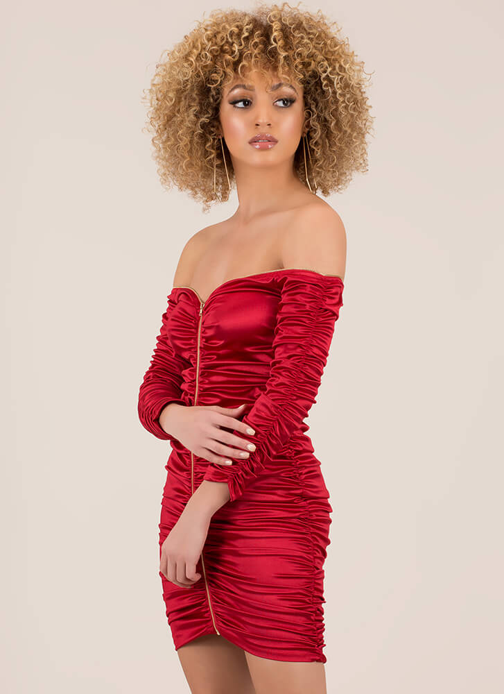 Big Gathering Off-Shoulder Satin Dress RED