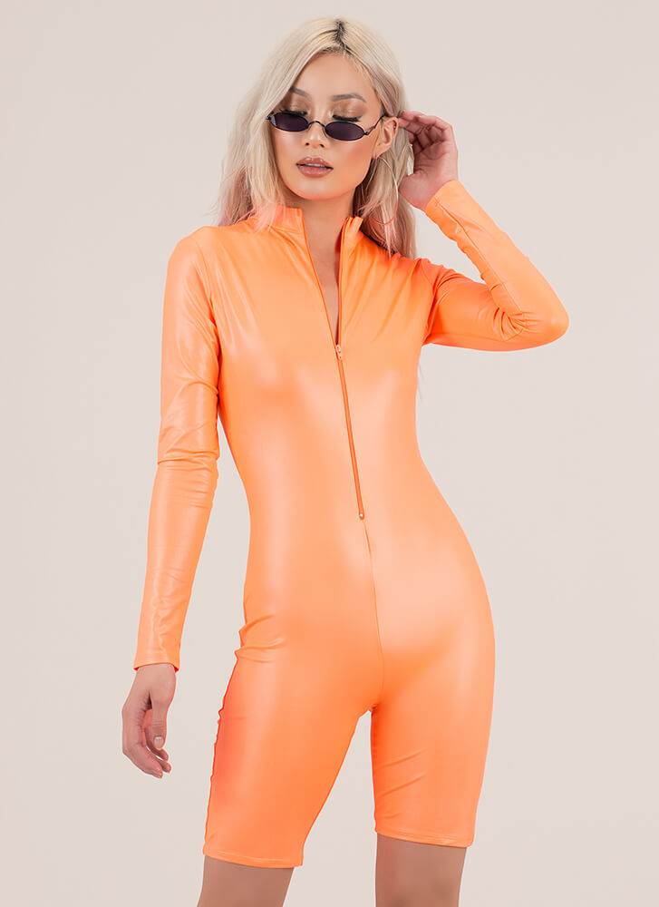 Speed Up Faux Leather Biker Short Romper NEONORANGE