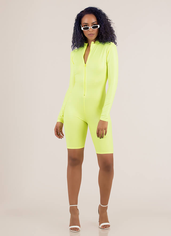 Speed Up Faux Leather Biker Short Romper NEONYELLOW
