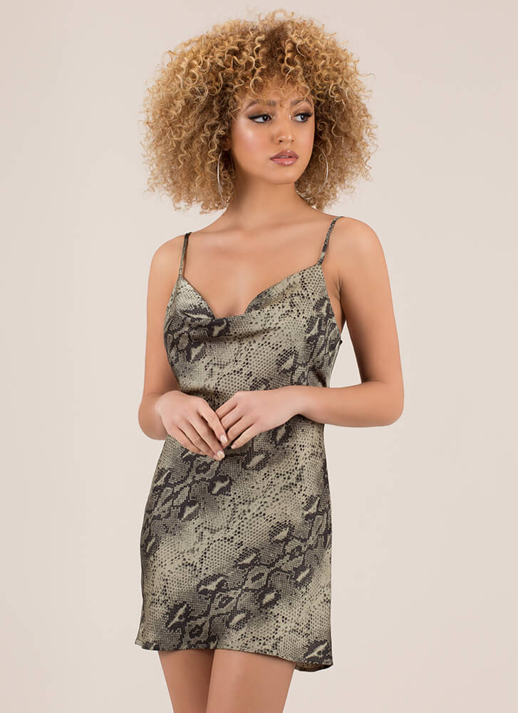 Snake In The Night Cowl-Neck Slip Dress OLIVE (Final Sale)