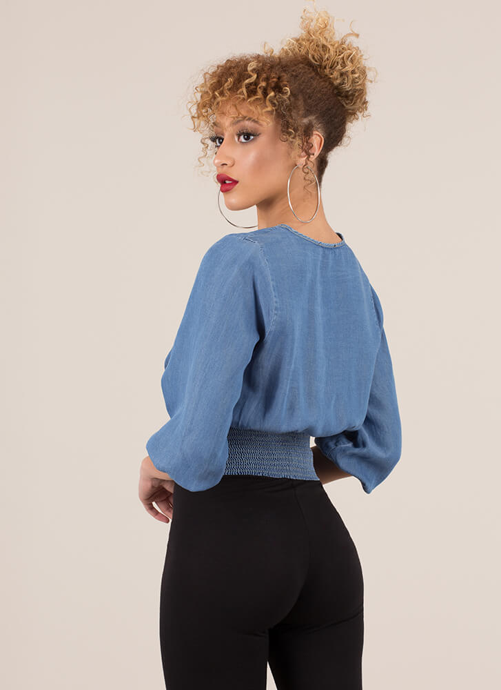 Do It In Denim Lace-Up Chambray Top BLUE
