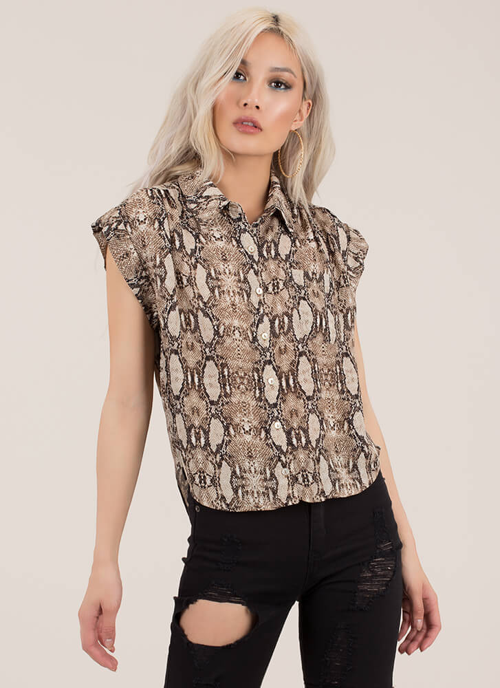Cold-Blooded Collared Snake Print Blouse BROWN