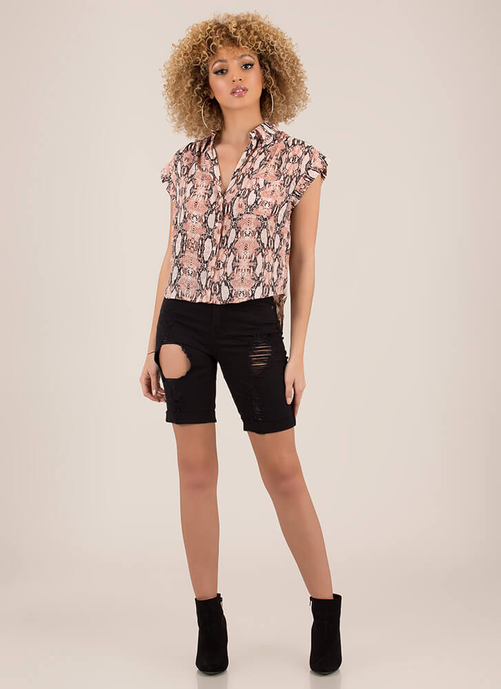 Cold-Blooded Collared Snake Print Blouse PINK
