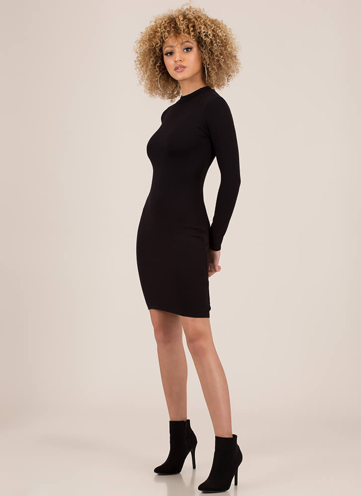 Take Me Anywhere Basic Midi Dress BLACK