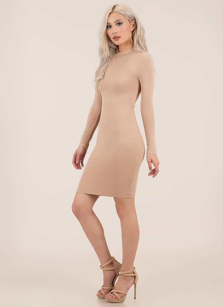 Take Me Anywhere Basic Midi Dress TAUPE