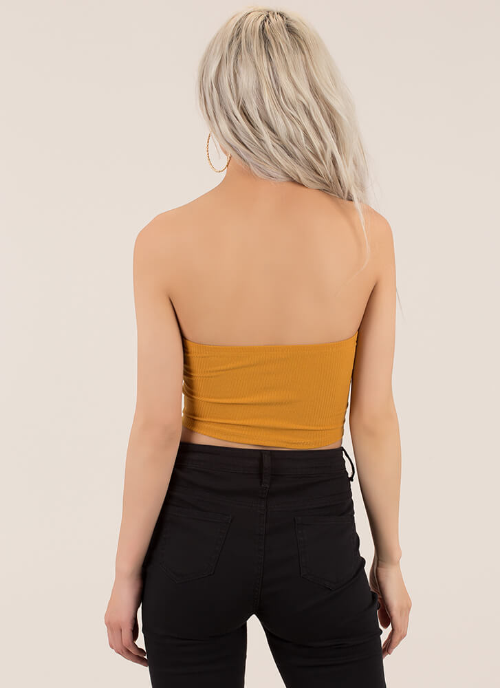 Easy Solution Cropped Rib Knit Tube Top MUSTARD