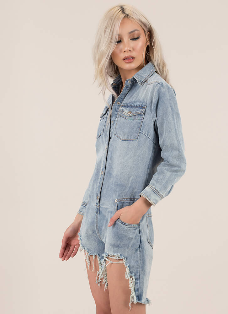 Distress Call Button-Up Denim Romper BLUE