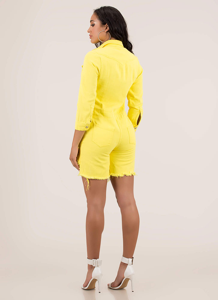 Distress Call Button-Up Denim Romper YELLOW