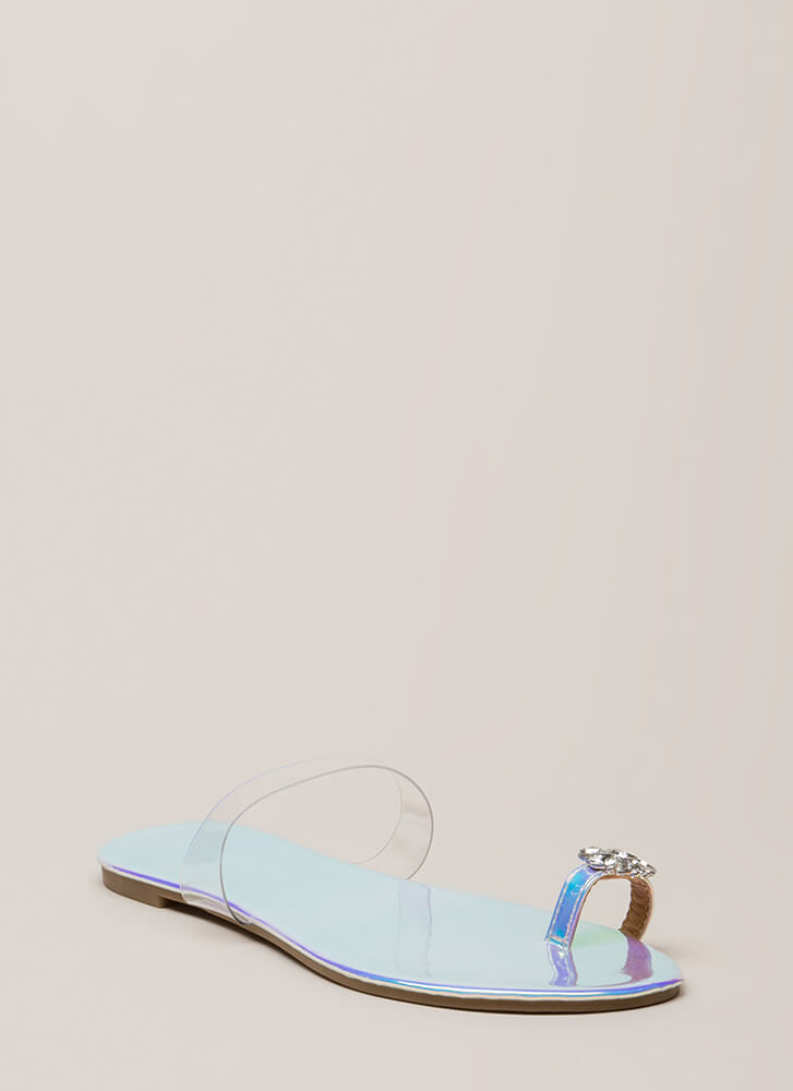 Flower Girl Jeweled Clear Strap Sandals WHITE (Final Sale)
