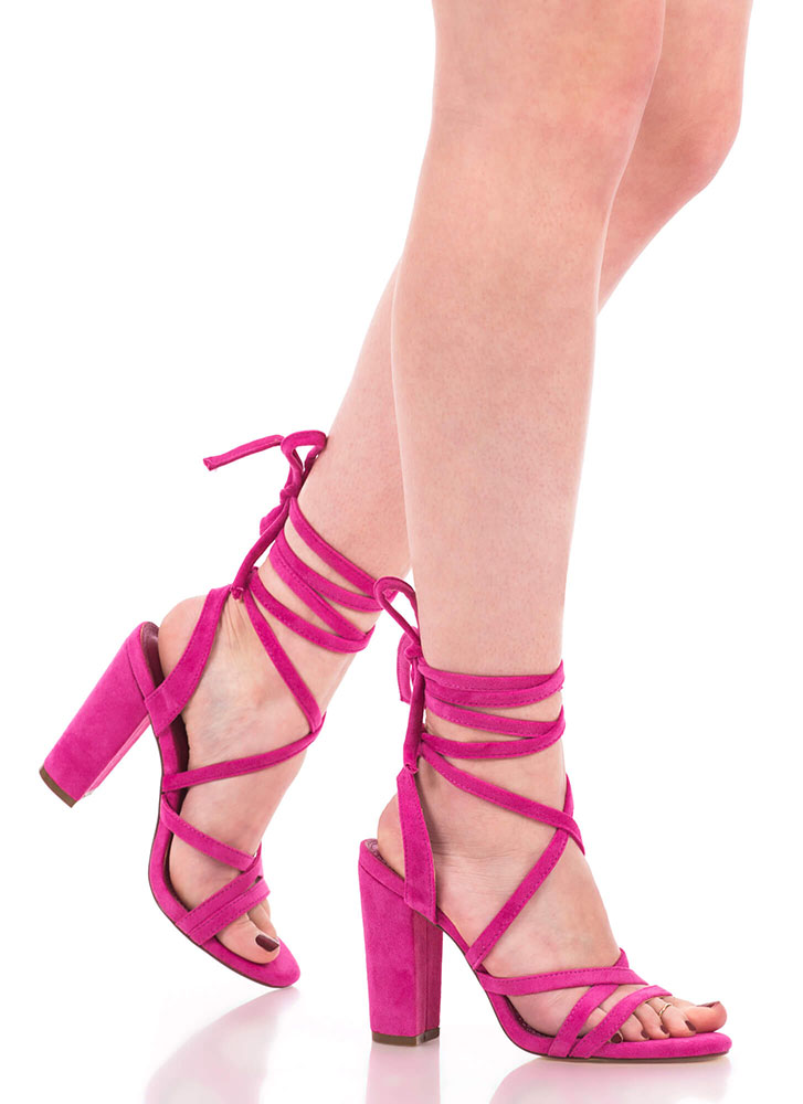 Tie It Together Chunky Lace-Up Heels FUCHSIA