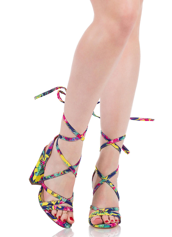 Tie It Together Chunky Lace-Up Heels MULTI