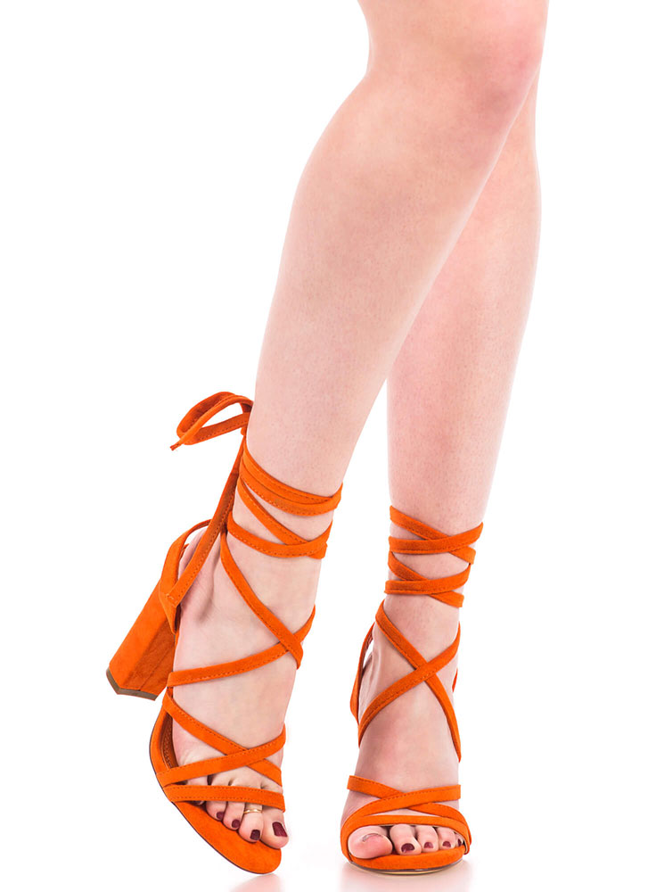 Tie It Together Chunky Lace-Up Heels ORANGE