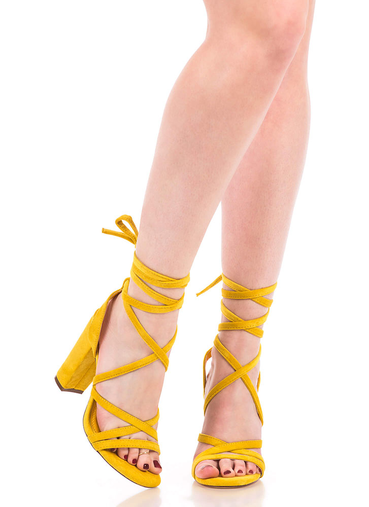 Tie It Together Chunky Lace-Up Heels YELLOW