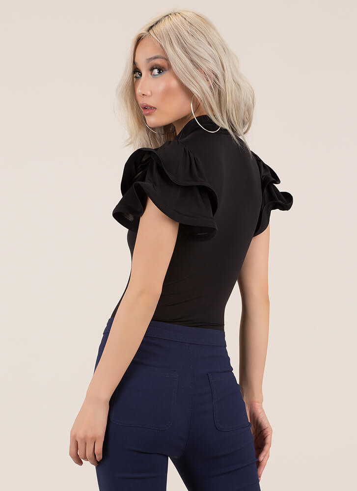 What A Frill Ruffle Sleeve Bodysuit BLACK