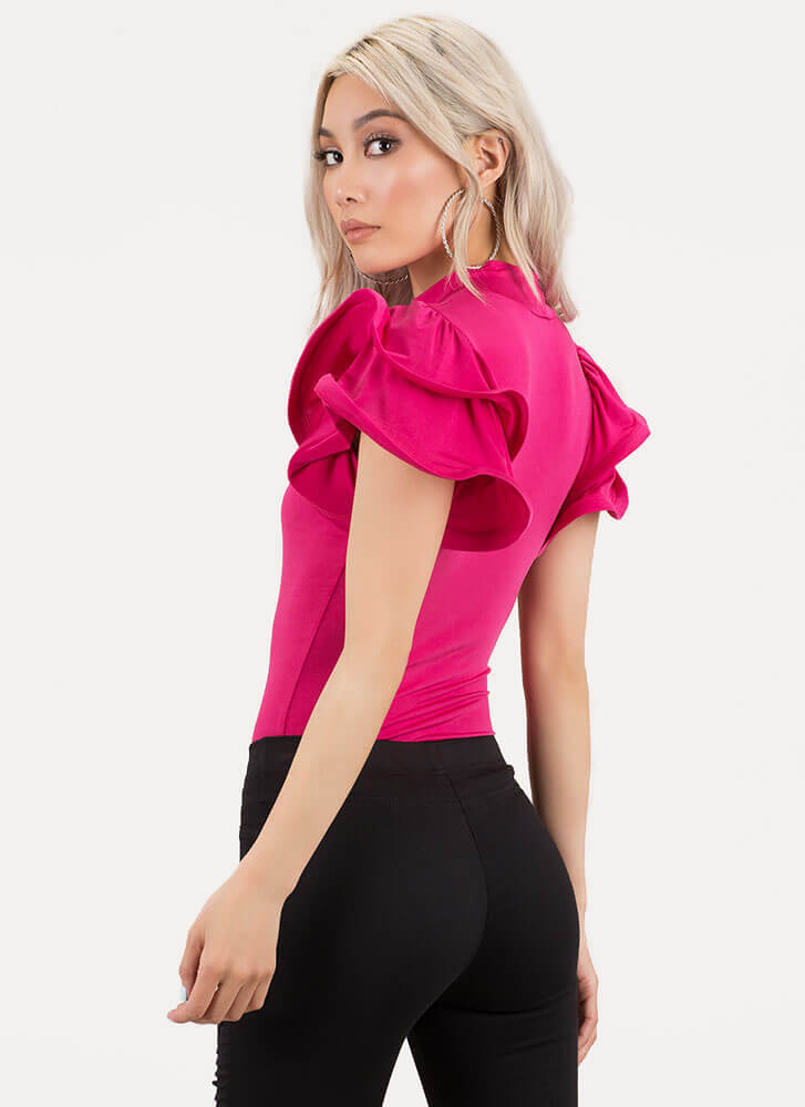 What A Frill Ruffle Sleeve Bodysuit PINK