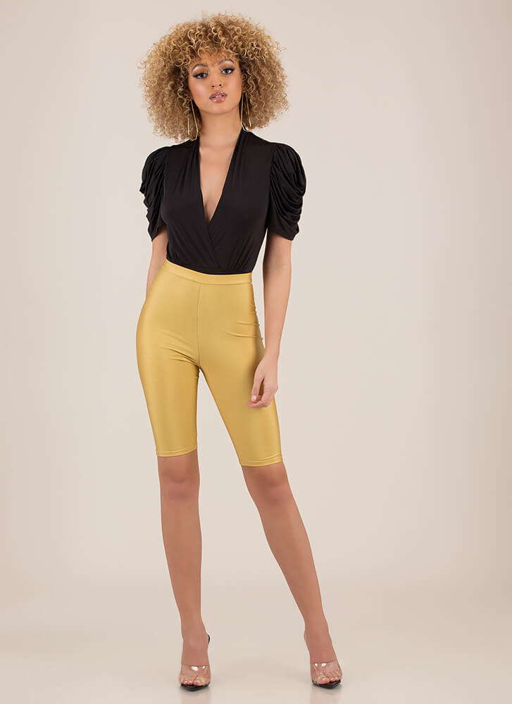 Curtain Call Puffy Sleeve Bodysuit BLACK