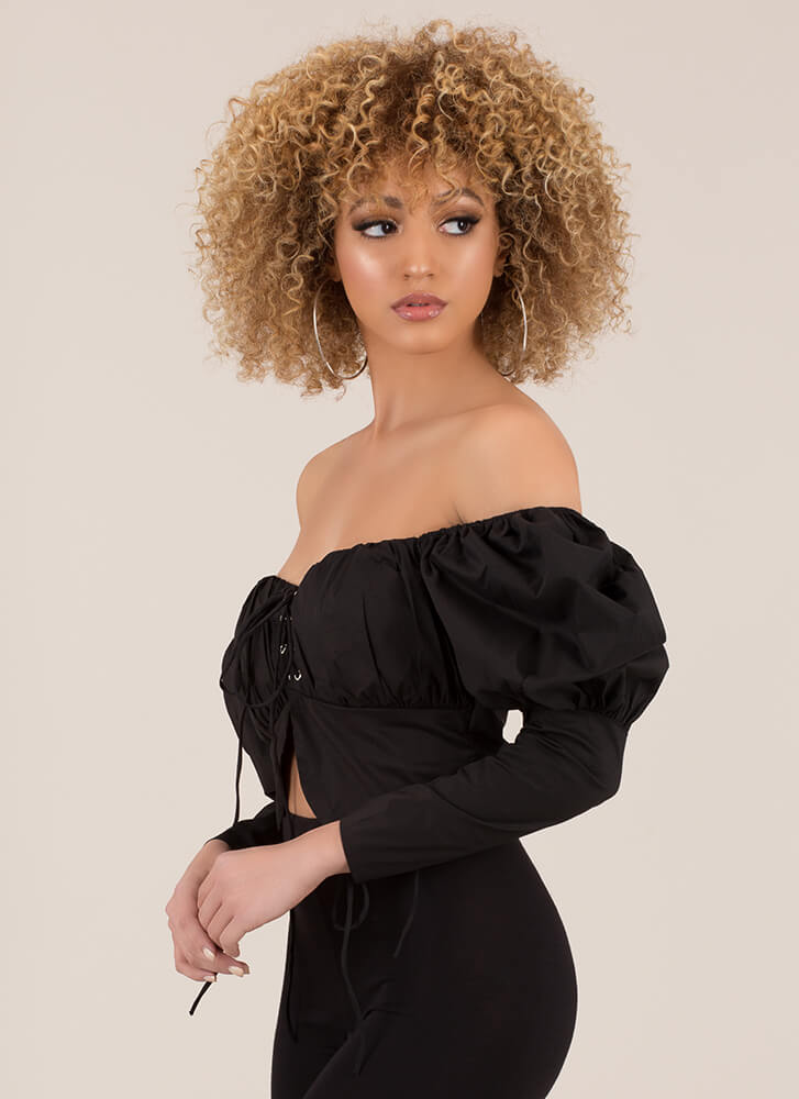 Modern Corset Puffy Off-Shoulder Top BLACK (Final Sale)