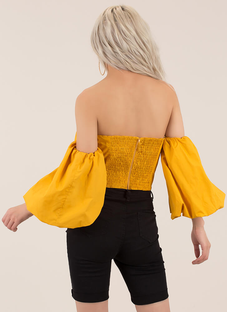 New Romance Puffy Off-Shoulder Crop Top MUSTARD