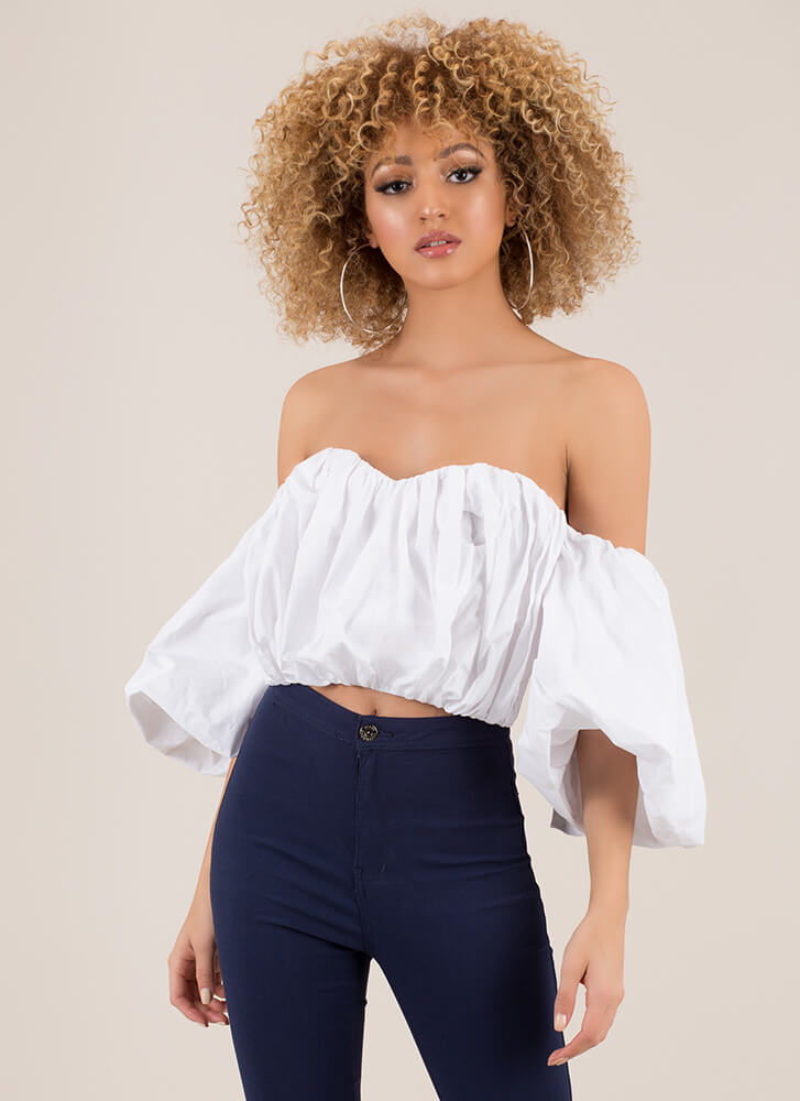 New Romance Puffy Off-Shoulder Crop Top WHITE
