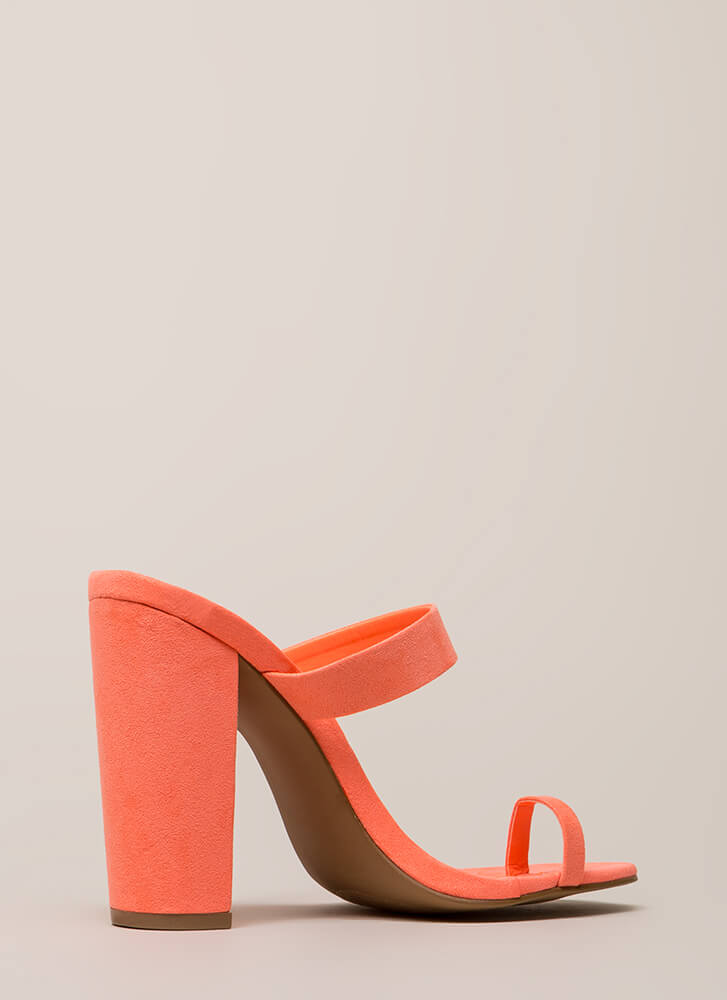 Toe The Line Strappy Chunky Mule Heels NEONCORAL