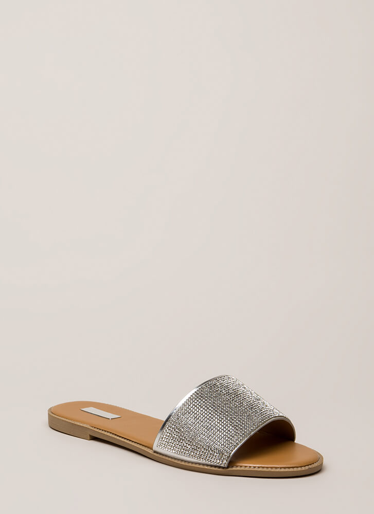 Something Sparkly Jeweled Slide Sandals SILVER