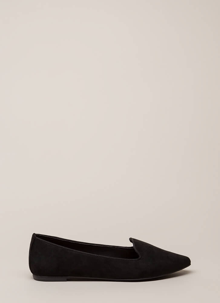 Point Out Faux Suede Smoking Flats BLACK