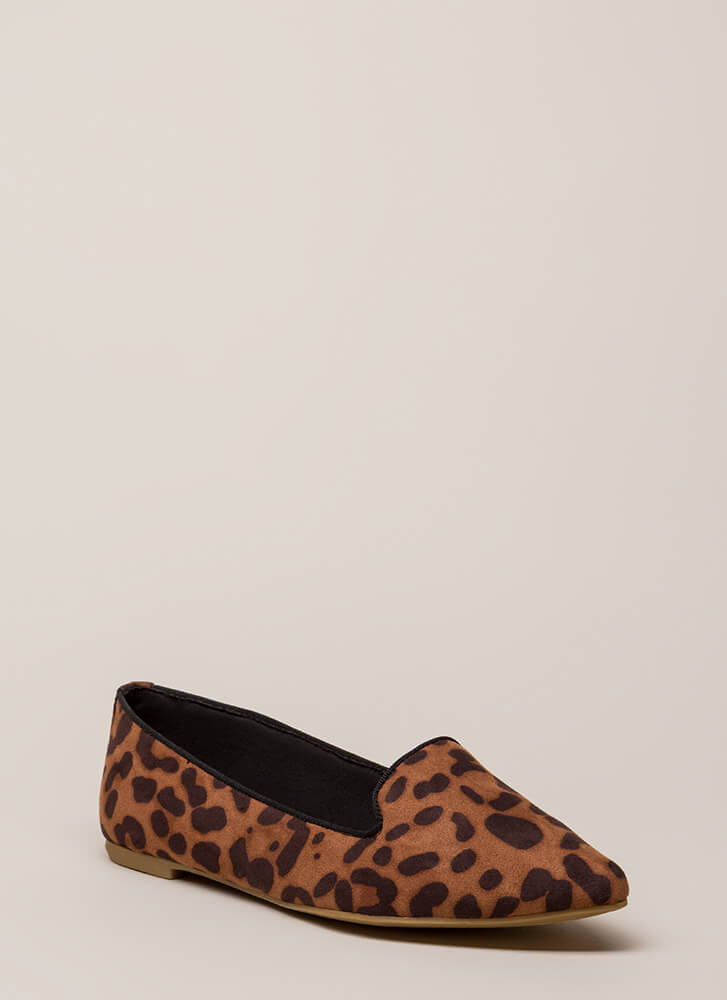 Point Out Faux Suede Smoking Flats LEOPARD