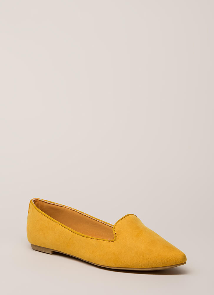 Point Out Faux Suede Smoking Flats MARIGOLD