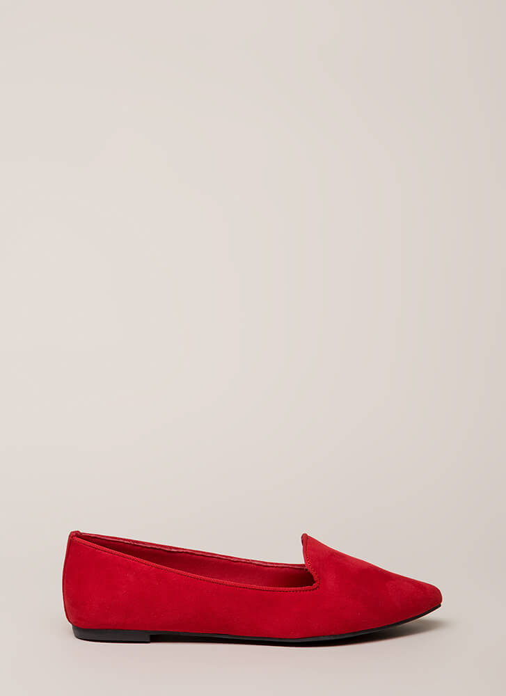 Point Out Faux Suede Smoking Flats RED
