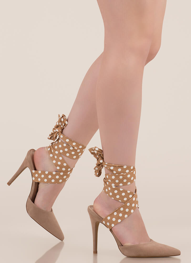 Seriously Cute Lace-Up Polka Dot Heels TAUPE