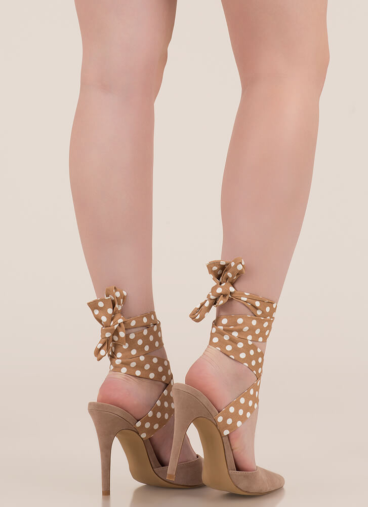 Seriously Cute Lace-Up Polka Dot Heels TAUPE (You Saved $24)