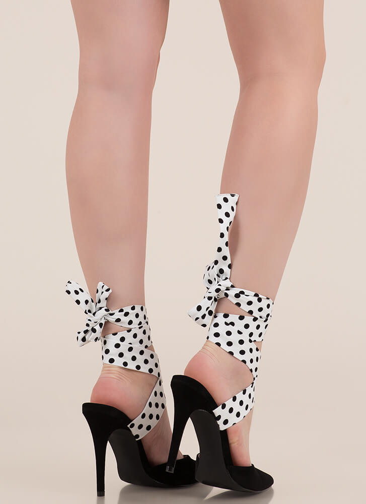 Seriously Cute Lace-Up Polka Dot Heels WHITE (You Saved $24)