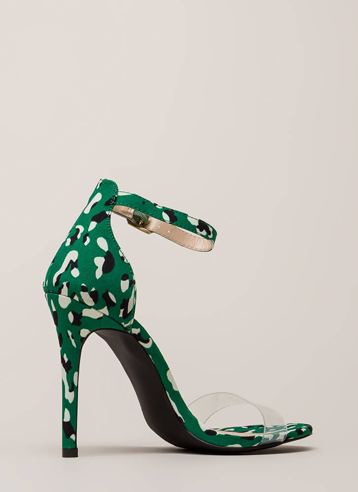 In The Wild Spotted Clear Strap Heels GREEN