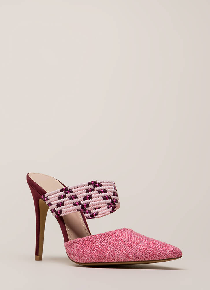 Weave A Message Pointy Mule Heels PINK