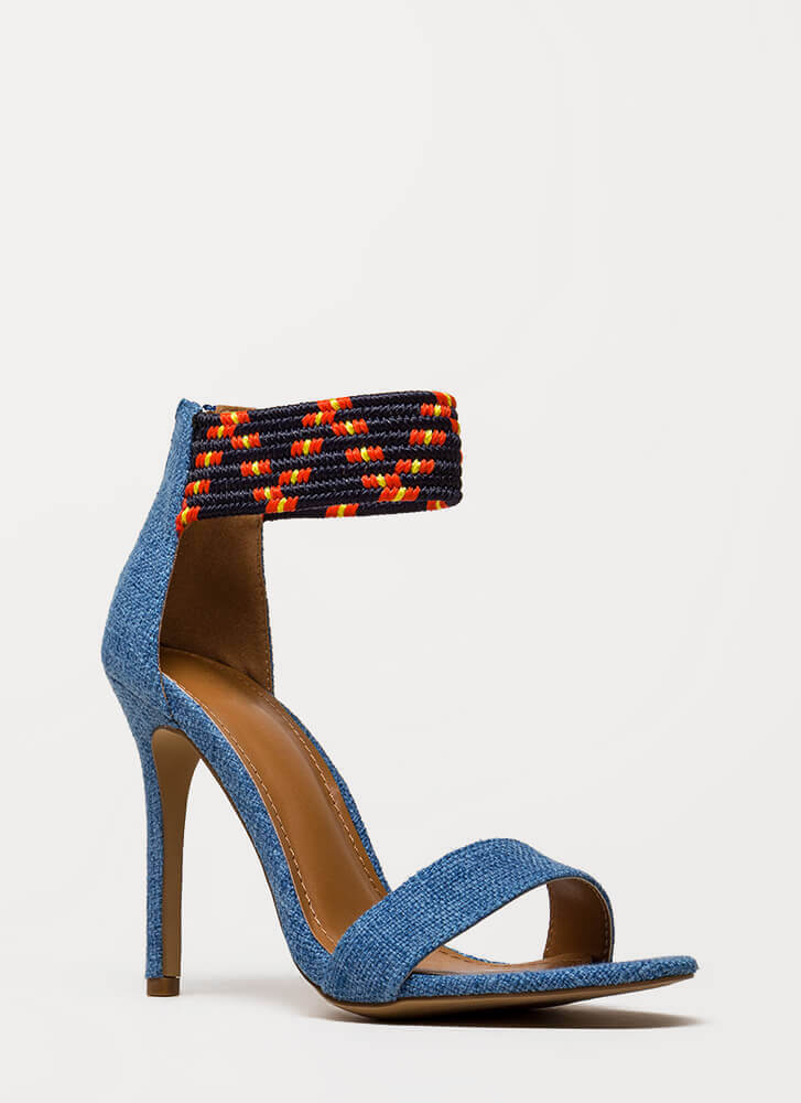 Weave A Message Ankle Cuff Heels BLUE (You Saved $24)