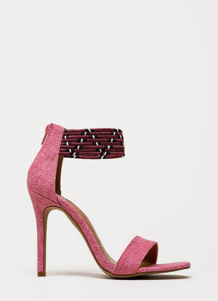 Weave A Message Ankle Cuff Heels PINK (You Saved $24)