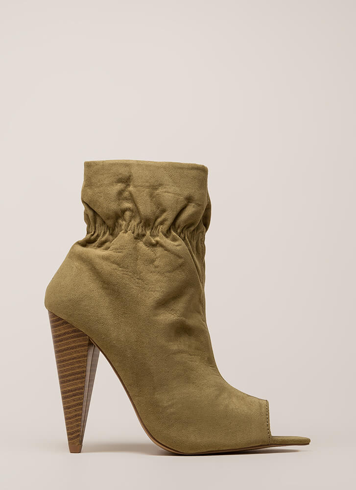Scrunch Time Cone Heel Peep-Toe Booties KHAKI (Final Sale)