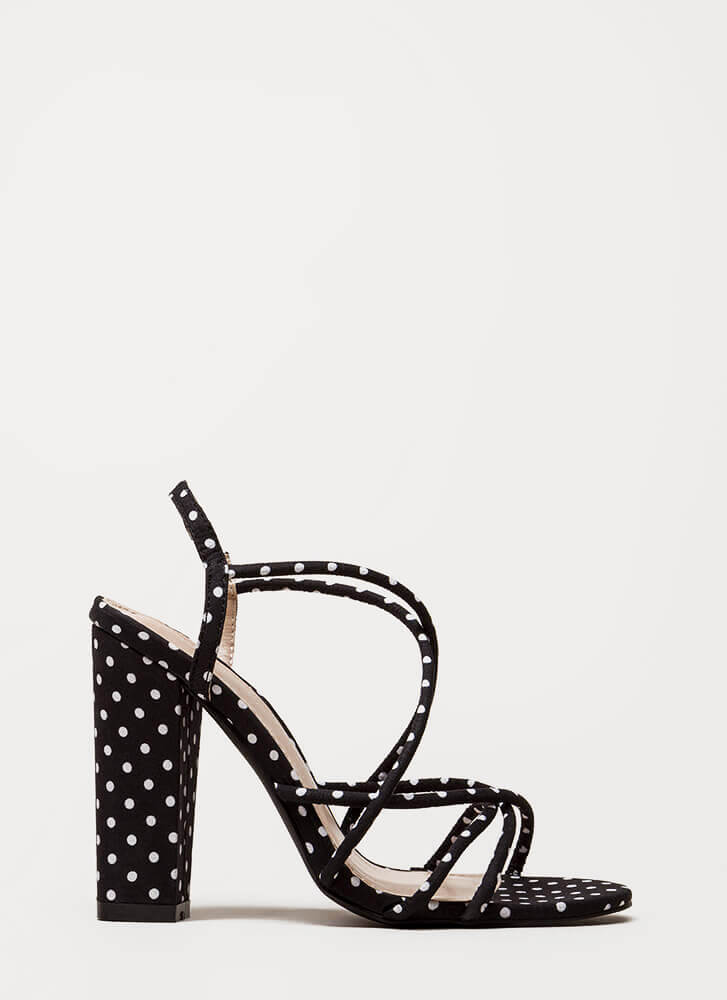 Pretty In Polka Dots Chunky Caged Heels BLACK