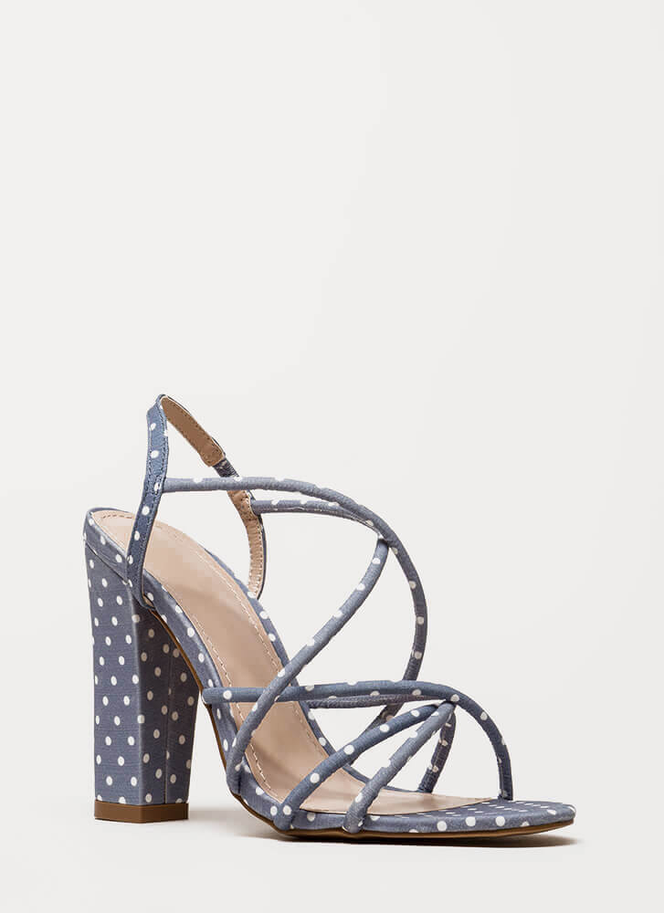 130822d4a08 Pretty In Polka Dots Chunky Caged Heels BLUE BLACK RED - GoJane.com