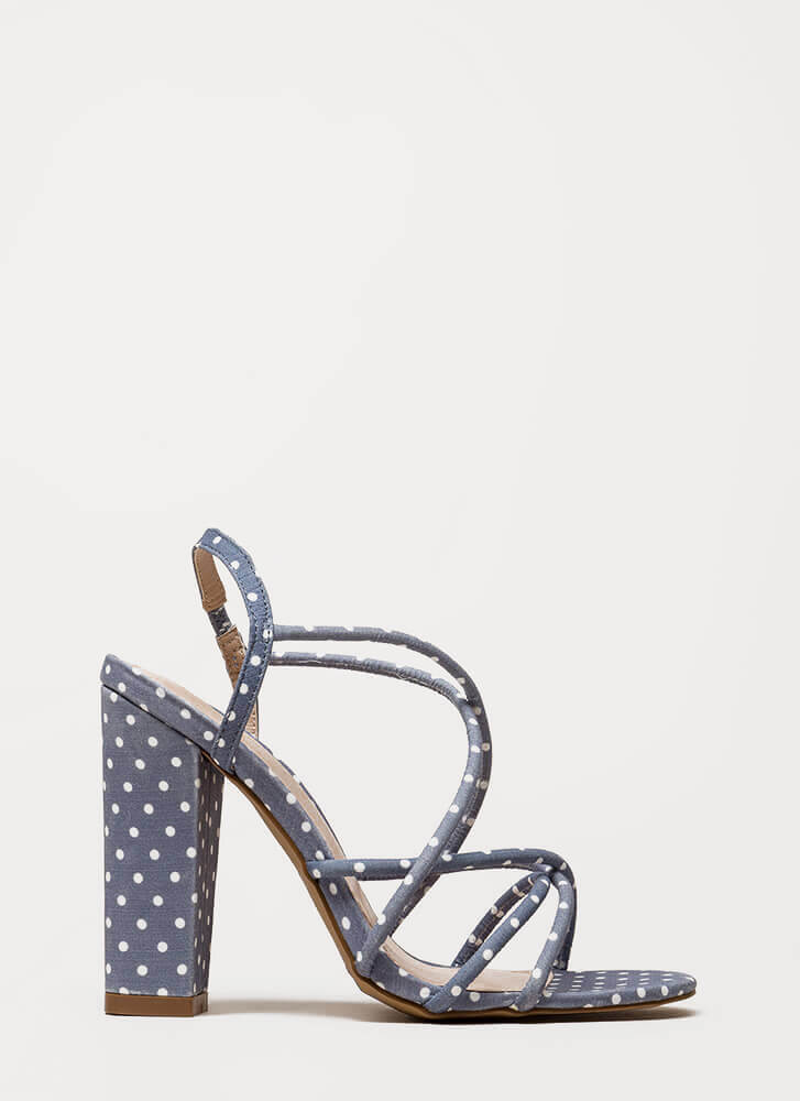 Pretty In Polka Dots Chunky Caged Heels BLUE
