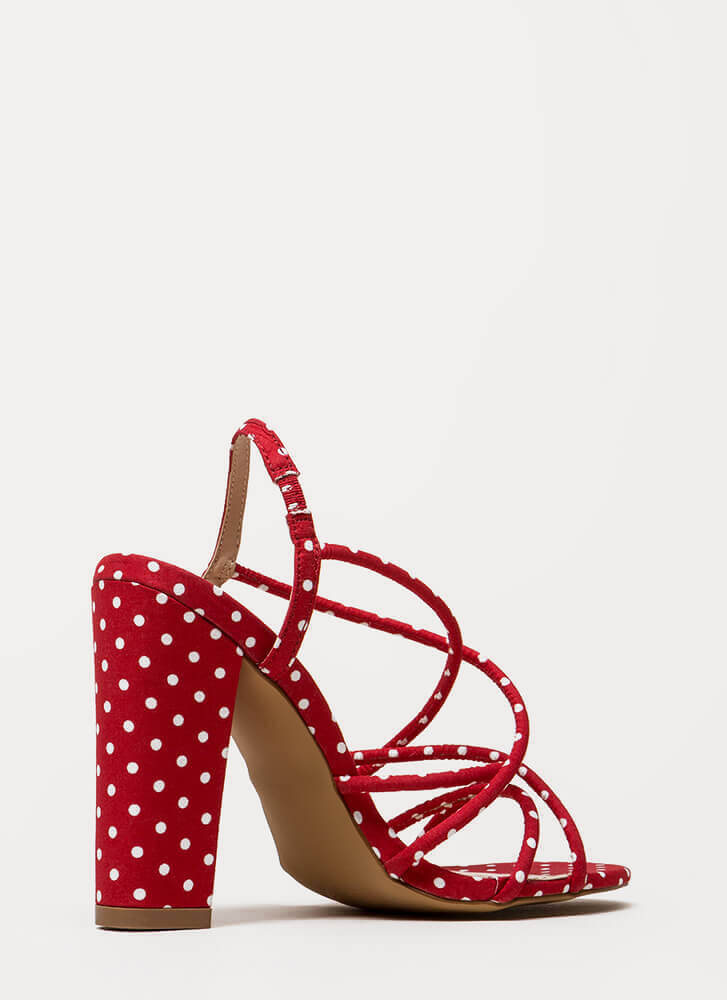 Pretty In Polka Dots Chunky Caged Heels RED