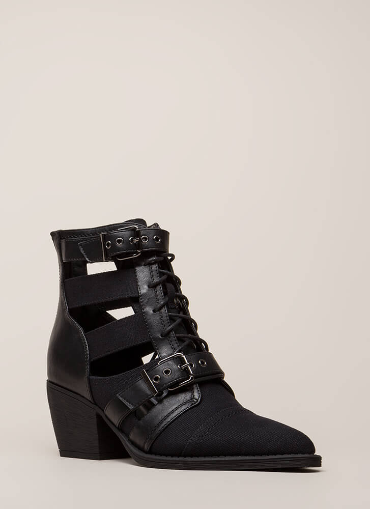 Strap In Lace-Up Block Heel Booties BLACK