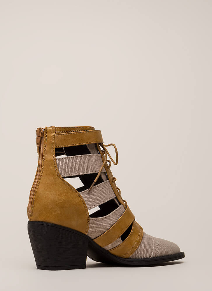 Strap In Lace-Up Block Heel Booties TAN